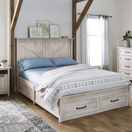 Better Homes Gardens Modern Farmhouse Queen Platform Bed With Storage Rustic Gray Finish Walmart Com Platform Bed With Storage Bed Frame With Storage Queen Platform Bed