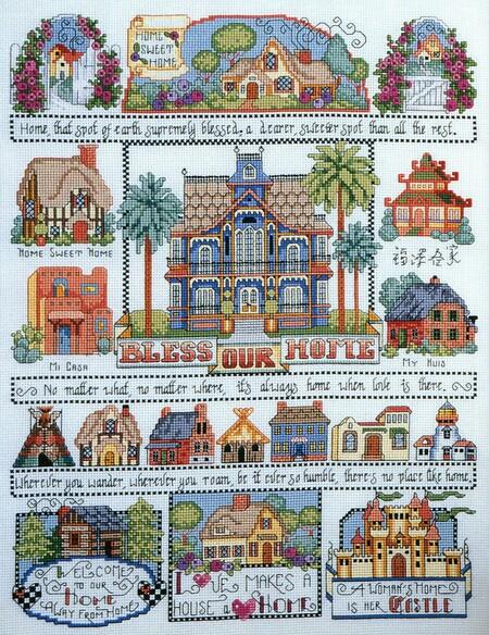 Kooler Design Studio Bless Our Home Sampler Cross Stitch Pattern Cross Stitch Cross Stitch House Cross Stitch Samplers