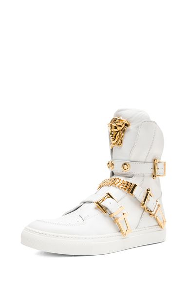 9b801fbc4 VERSACE|Tri Buckle Medusa Head Leather Sneakers in White & Gold ...