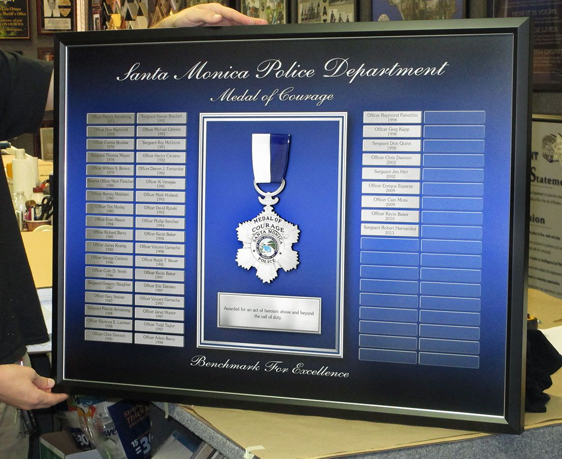 Santa Monica PD - Medal of Courage Perpetual Plaque from Badge Frame ...
