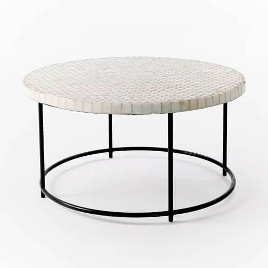 Mosaic Tiled Outdoor Coffee Table White Marble Antique Bronze