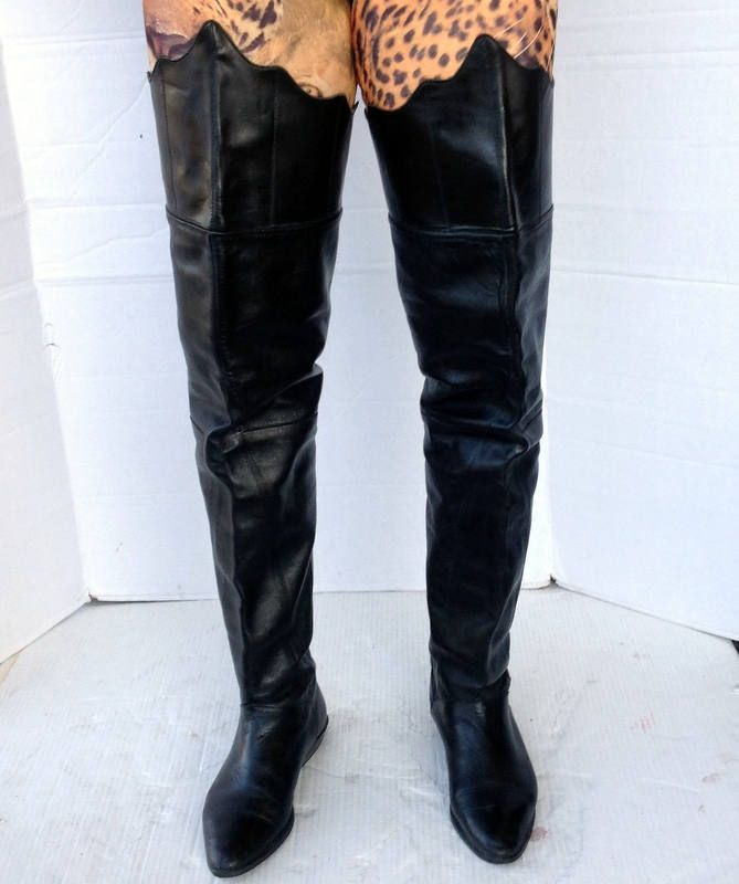 d56078f974db sz 6.5 vintage flat black leather thigh high boots- lace up back- a point  scallop top edge-extra wide thigh-extra tall pull on by NuLookVintage on  Etsy