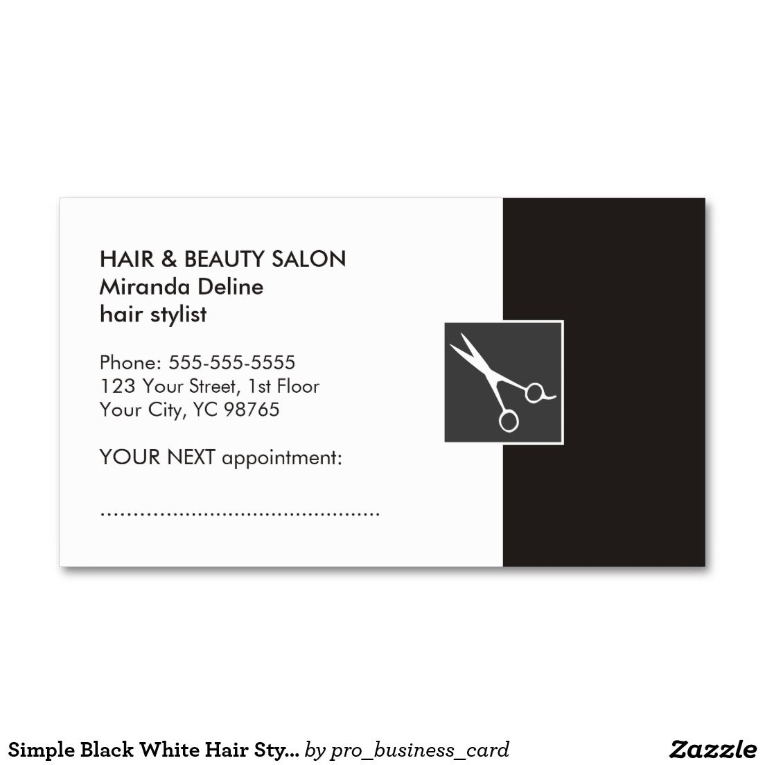 Simple Black White Hair Stylist Appointment Card Double-Sided ...