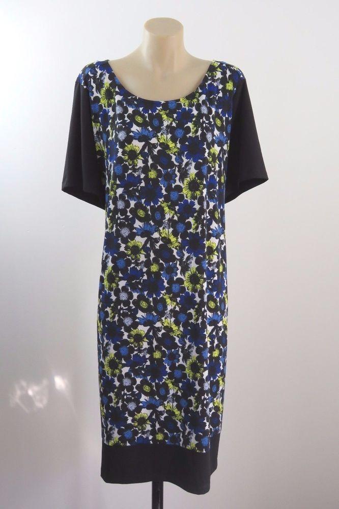 Nwt Plus Size L 20 Basque Ladies Black Shift Dress Floral Retro