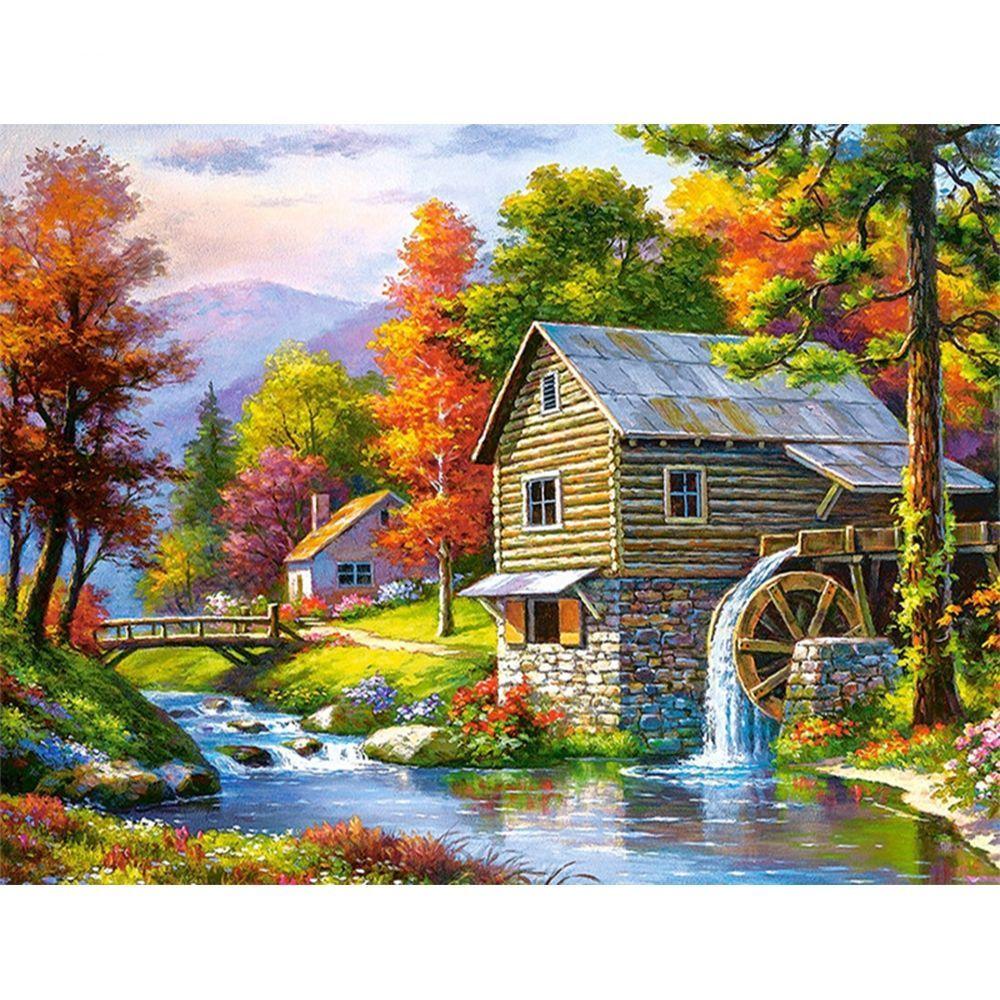Scenic Cottage Diamond Boyama 2020 Peyzaj Duzenlemesi Fikirleri Manzara Resimleri Painting