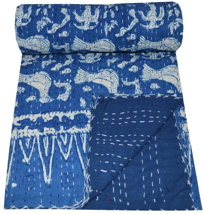 Twin Size Indigo Patchwork Kantha Quilt Natural Color Handmade Kantha Blanket Reversible Block Printed Kantha Throw Hand Stitched Bedspread