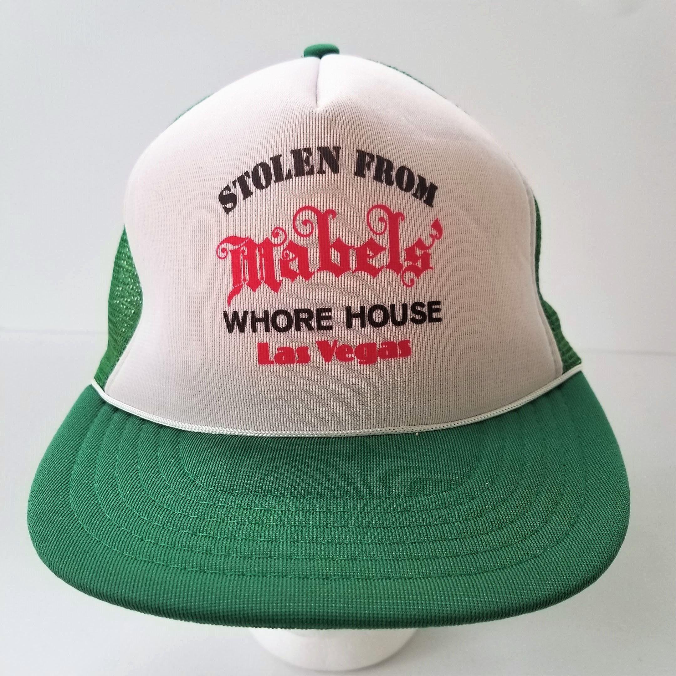 57b565d8f85 Vintage Trucker Hat 80s Mabels WhoreHouse Snapback Mesh Cap Green Las Vegas  Nevada Brothel by TraSheeWomen on Etsy  vegas  lasvegas  vintagevegas ...