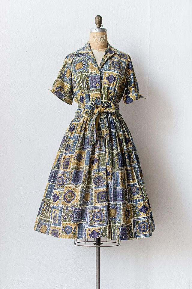 vintage 1950s olive blue printed shirt dress | Carer de Pelai Dress