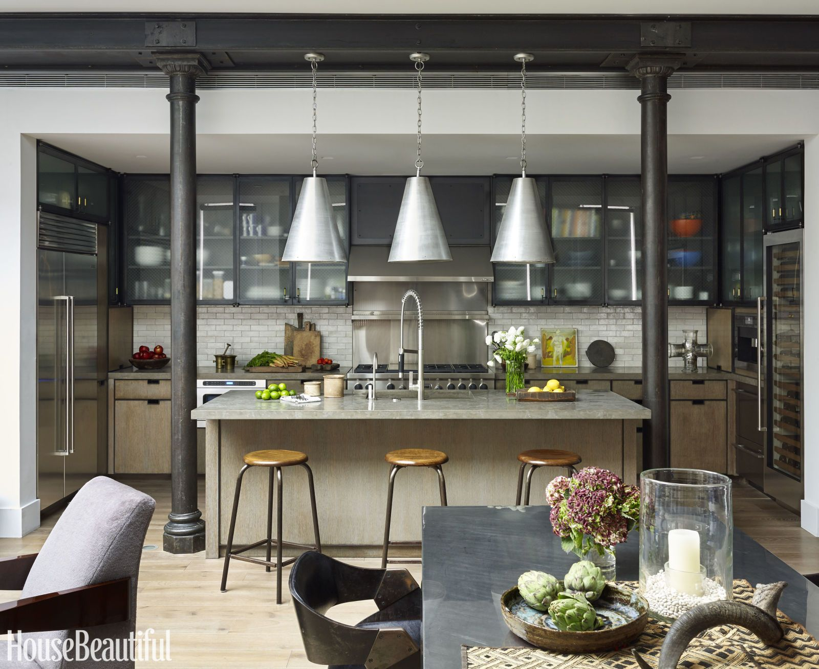 This Industrial Style Kitchen Masters Mixed Materials. House Beautiful /  Robert Stilin