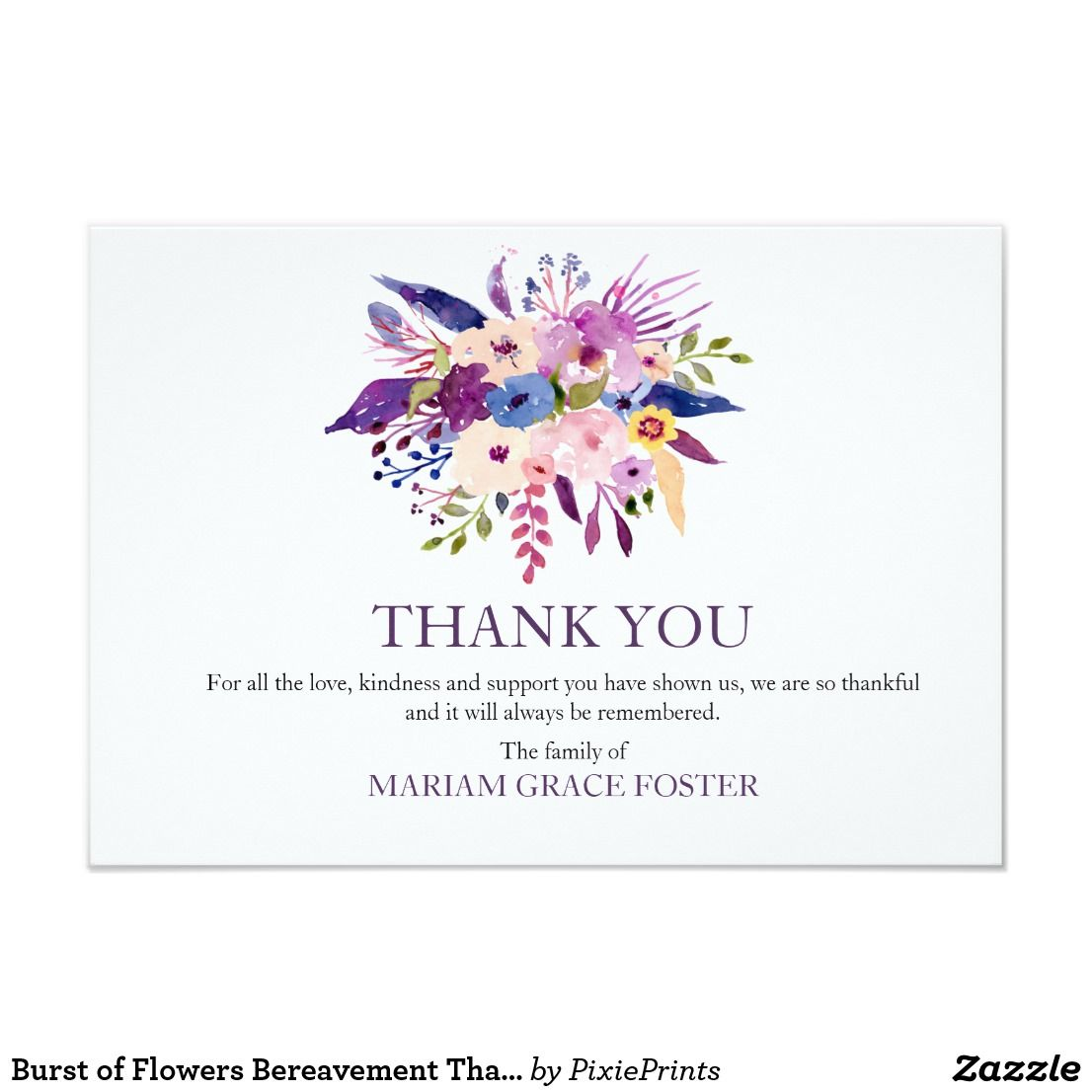 Burst Of Flowers Bereavement Thank You Card Zazzle Com With