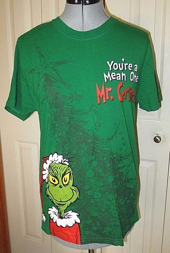 Grinch T Shirt You're a mean one Adult Medium Green Dr. Seuss
