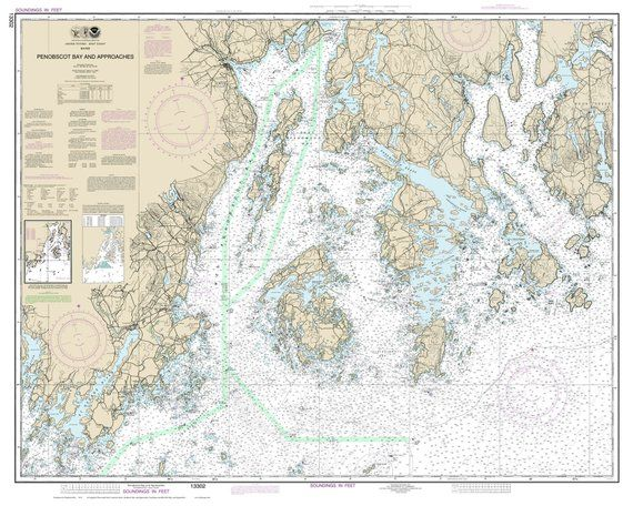 Vinalhaven Penobscot Bay 2014 Nautical Map Maine Custom 80000 Ac Reprint Charts 13302 13312 Map Nautical Chart Wall Maps