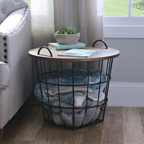 Industrial Wire and Wood Basket Side Table Wood basket Industrial