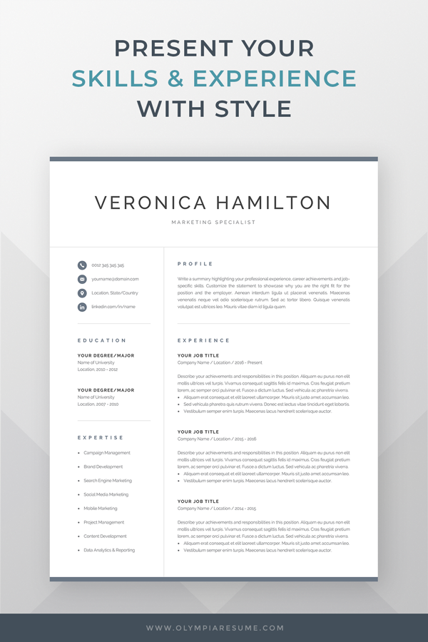 Professional Resume Template 1 And 2 Page Resume Modern Cv Etsy Resume Template Word Resume Template Professional Resume Template