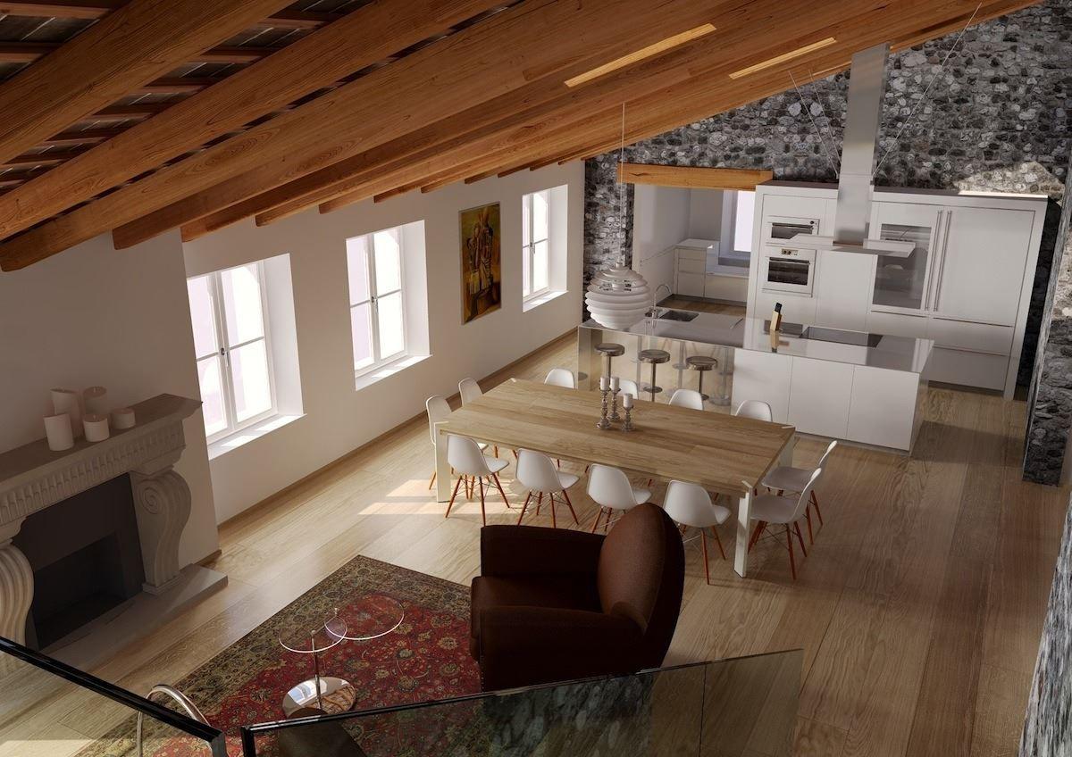 Un attico in un palazzo storico vivere la mansarda for Pavimenti per cucina e soggiorno