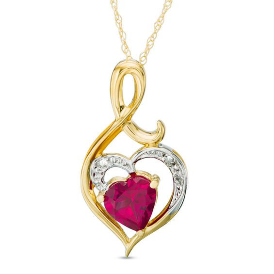 Zales 6.0mm Heart-Shaped Amethyst and Diamond Accent Pendant in 10K Rose Gold - 17 bXt7i