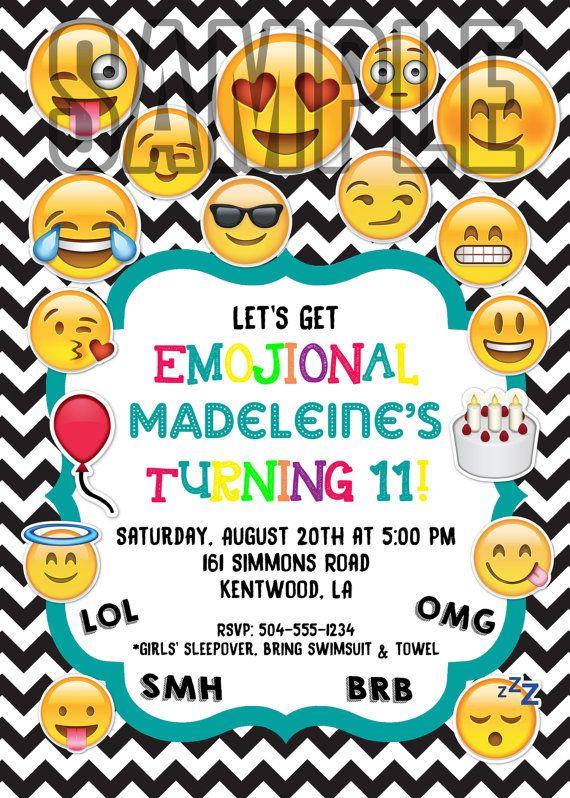 Emoji Invitations Emoji Birthday Invitations Emoji Theme Birthday