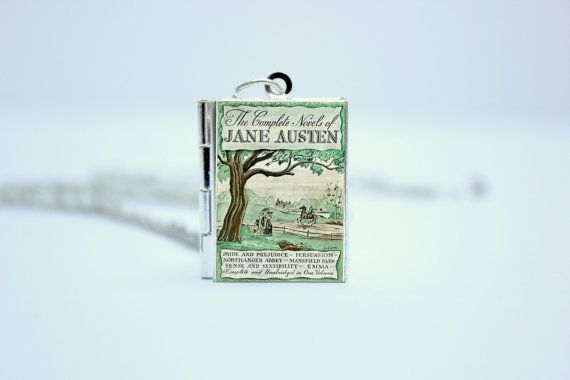 The Complete Novels of Jane Austen Vintage Book Cover Locket Jewelry / Jewellery with Library Card by The Locket Library  Available as a: Necklace, Bracelet, Keyring, Bookmark, Charm, Badge, Set of Earrings  Colours Available: Gold, Silver, Antique Bronze, Antique Copper, Rose Gold, Gun Metal Black