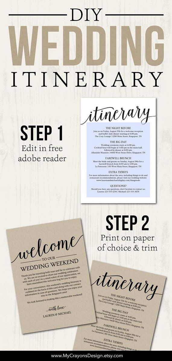 Wedding Itinerary Template // Printable Welcome Itinerary ...