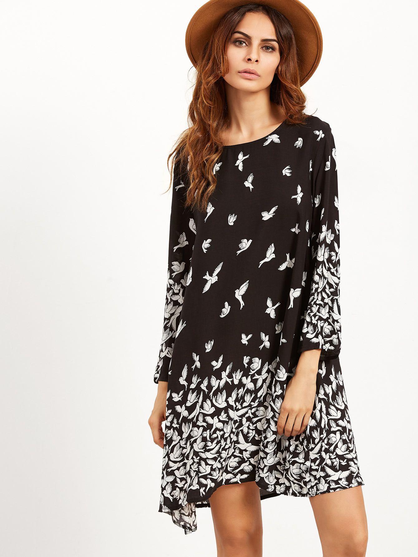 Tunika Kleid mit Taube Druck - schwarz   Pinterest   Tunika kleid ...
