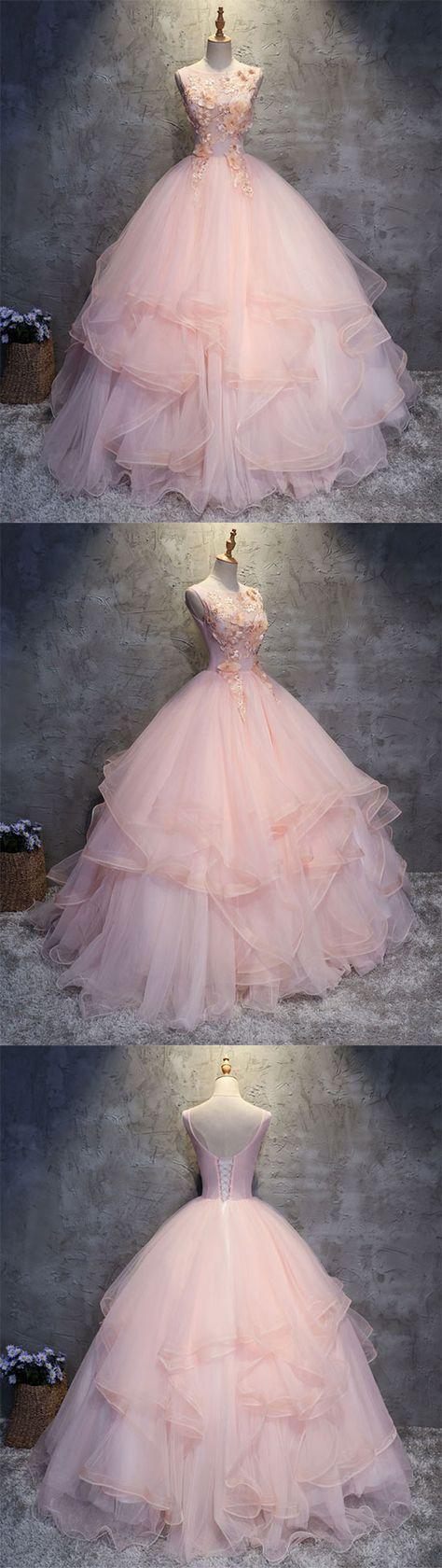 Pink round neck tulle lace applique long prom dress, pink evening dress #spitzeapplique