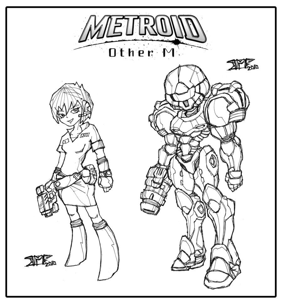 coloring metroid other m inks v by warhound cmp devia on coloring pages samus cn aran