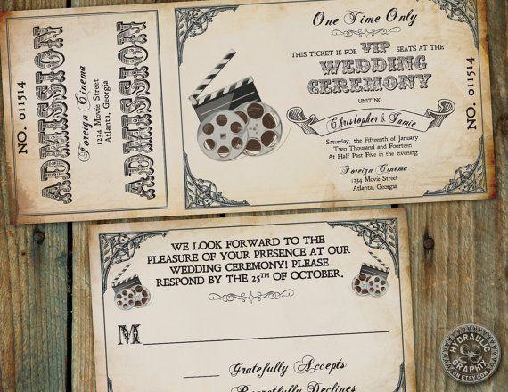 movie ticket wedding invitation template free - Google Search ...