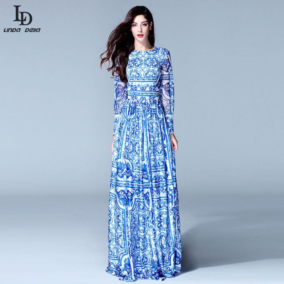 Long Sleeve Vintage Blue And White Print Dress Brand Maxi Dress ...