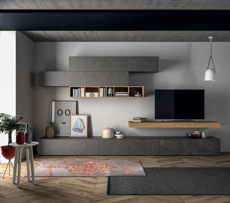 Meuble composable de s jour slim en 2019 am nagement mobilier de salon ensemble mural tv et - Meuble audio ikea ...