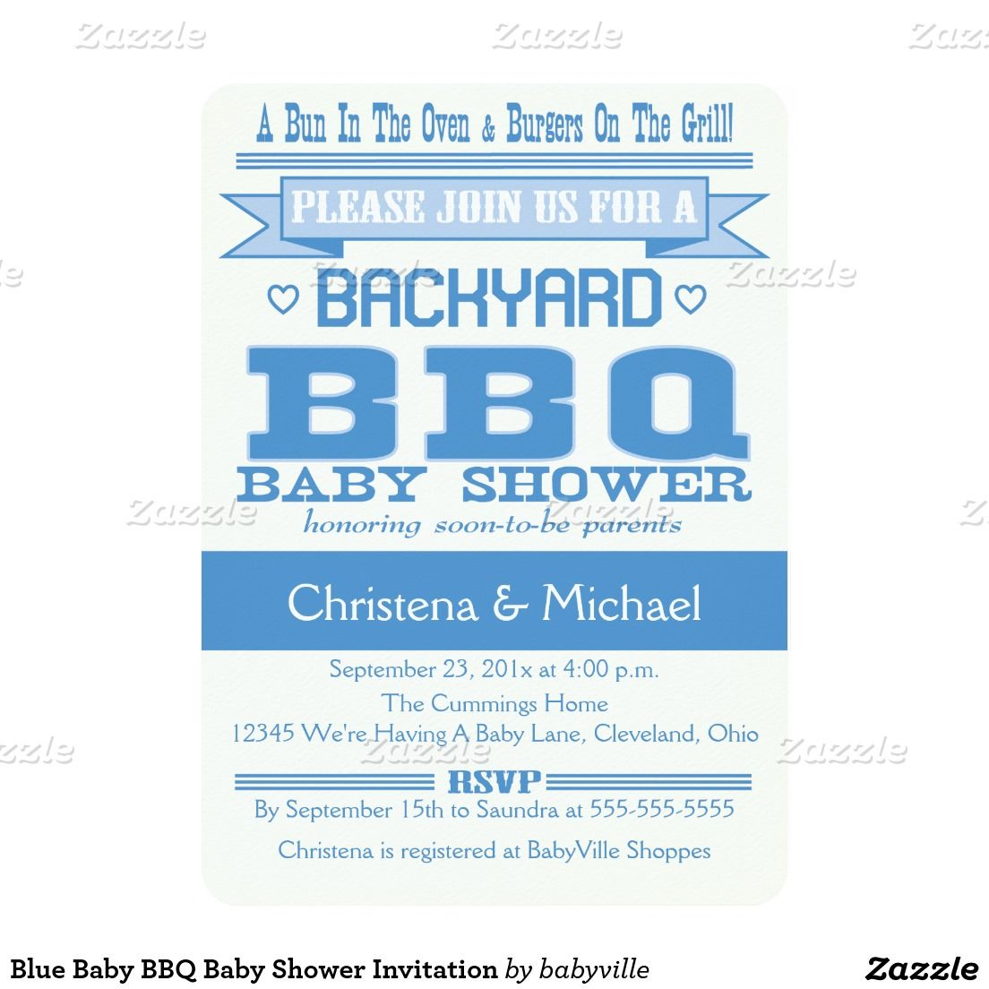 Blue Baby BBQ Baby Shower Invitation | Shower invitations