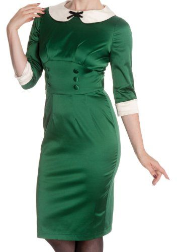 f40ad814df Hell Bunny Green Moneypenny 1950s Pencil Wiggle Dress: Amazon.co.uk:  Clothing