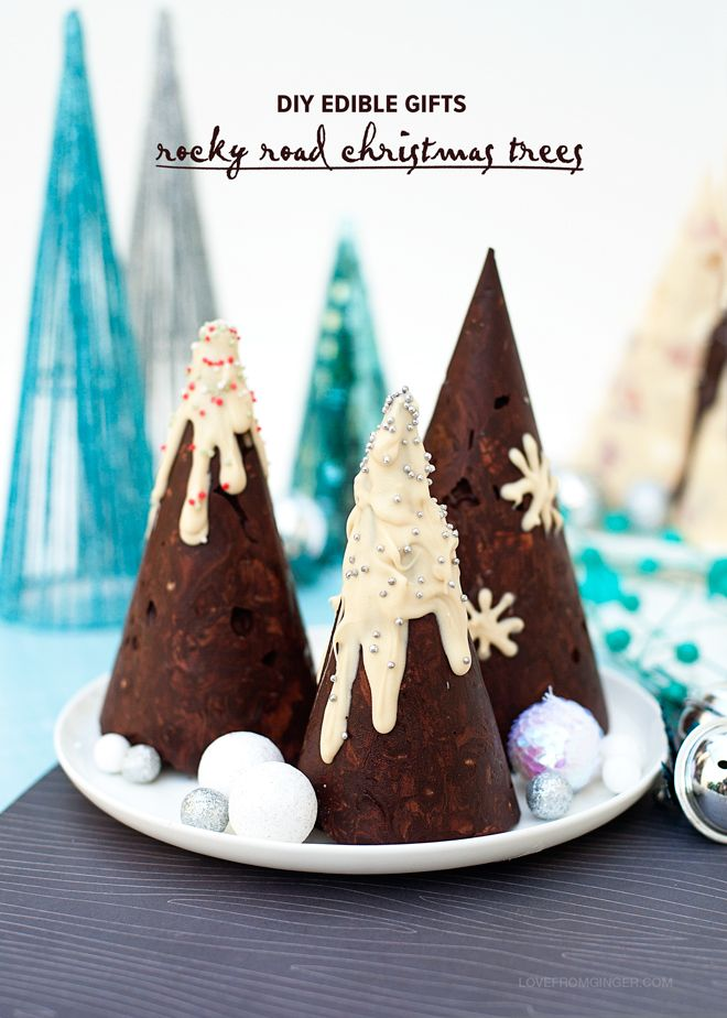 DIY Easy Edible Gifts: Rocky Road Christmas Trees via Love From Ginger - DIY Easy Edible Gifts: Rocky Road Christmas Trees Via Love From
