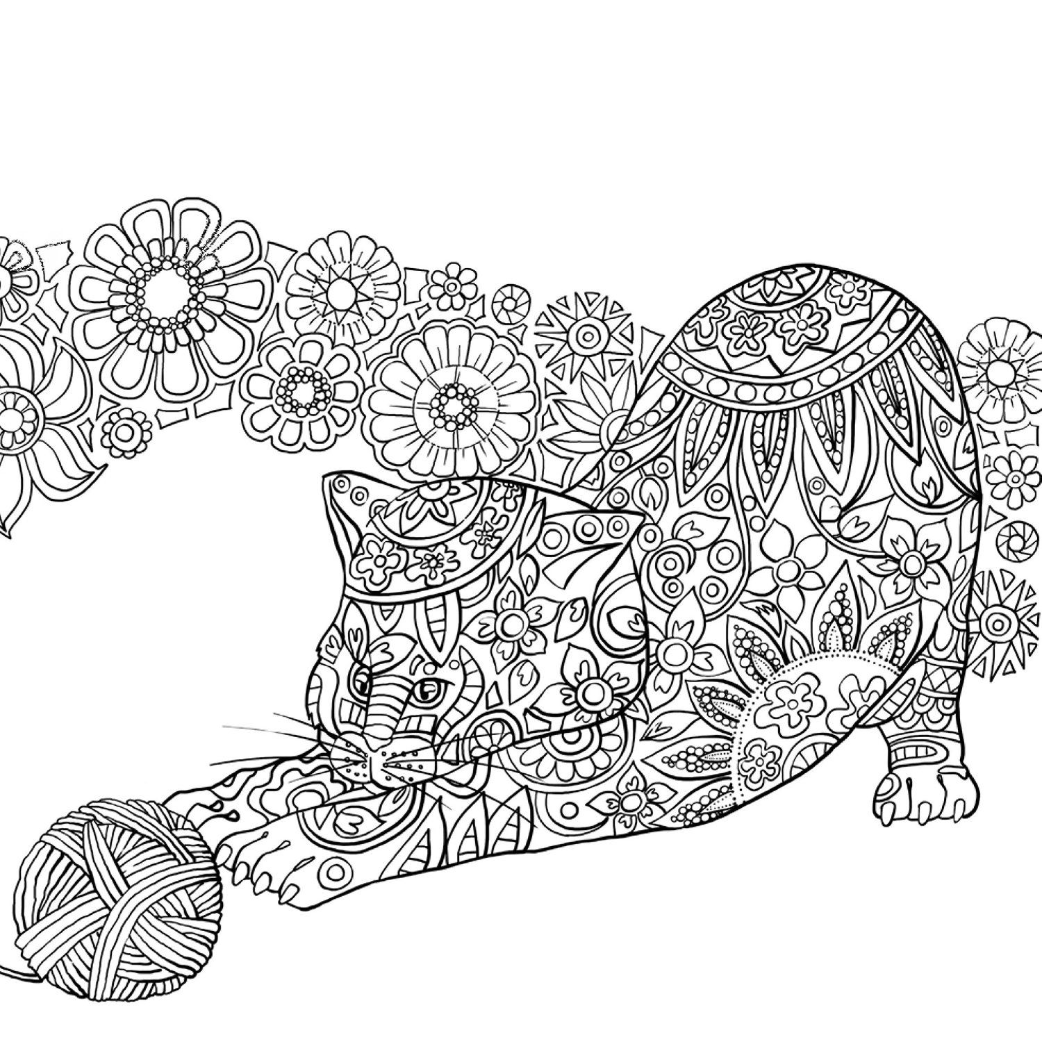 Free coloring page coloring adult difficult cat from back Fun