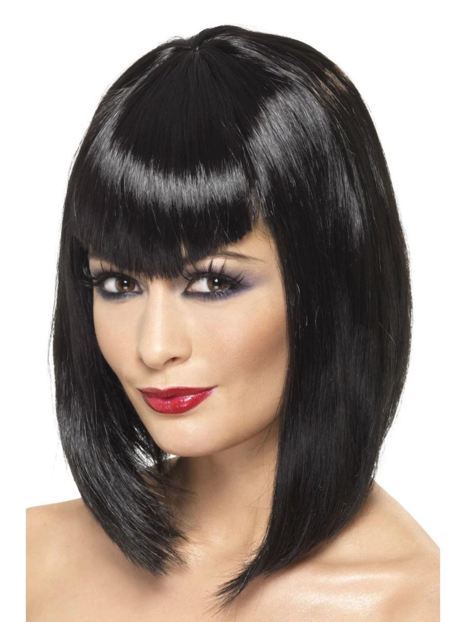 Short Black Vampiress Adult Costume Wig