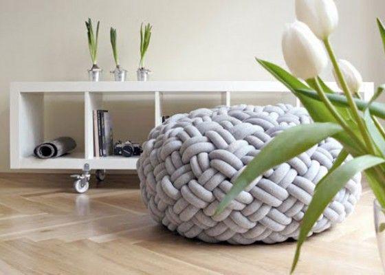 Gevlochten Knotty Poef : Fashionable knotty floor cushions developed by kumeko design