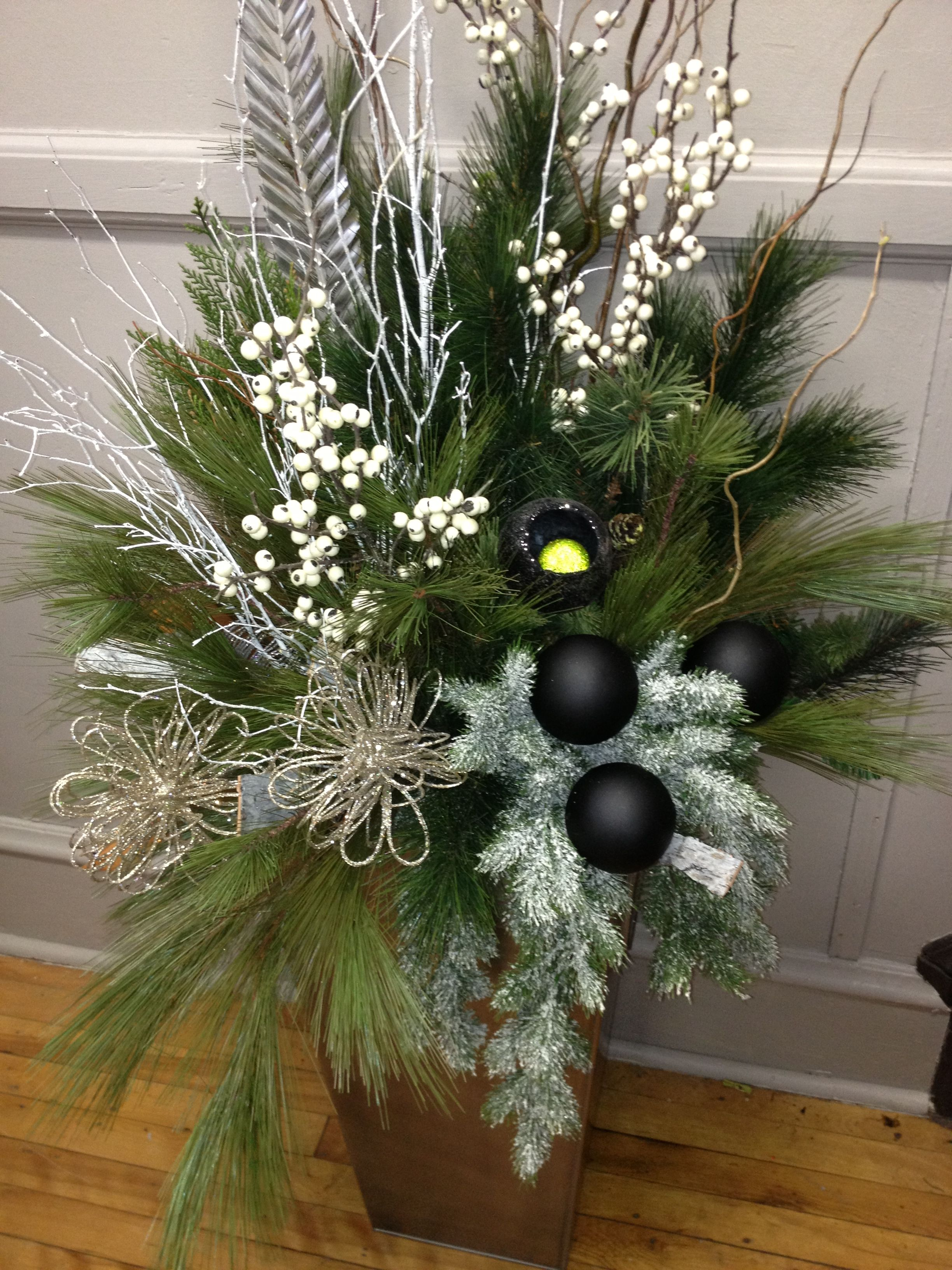 Classy Christmas Modern Urn Arrangement Pretty Pots