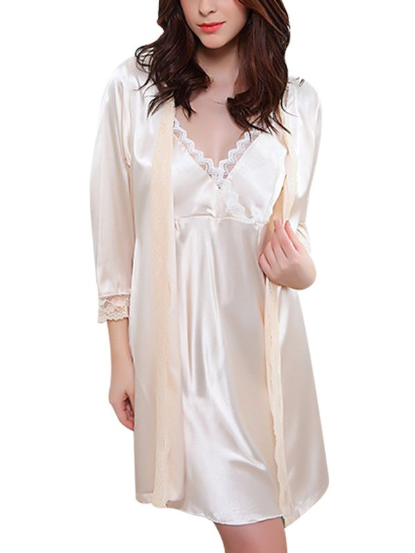 Walkingon Two Piece Charming Silk Night Gowns Lace Sleepwear ...