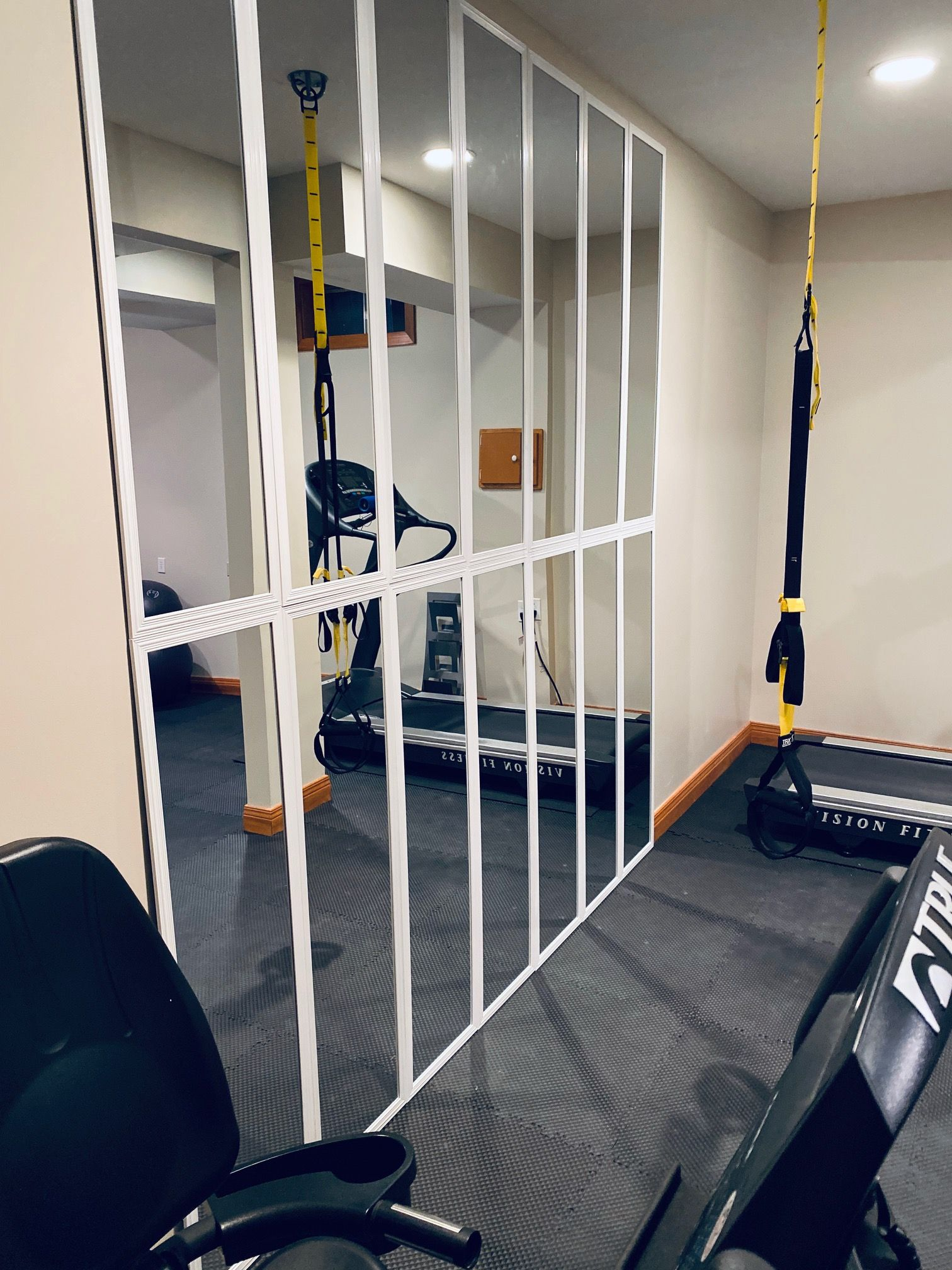 Installing A Diy Mirror Wall In Your Home Gym A How To In 2020 Diy Home Gym Home Gym Decor Home Gym Mirrors