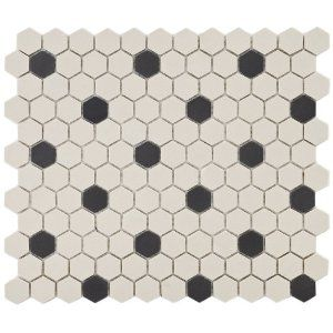UNGLAZED Vintage Hexagon With Black Dot X Inch - 10 inch hexagon tile