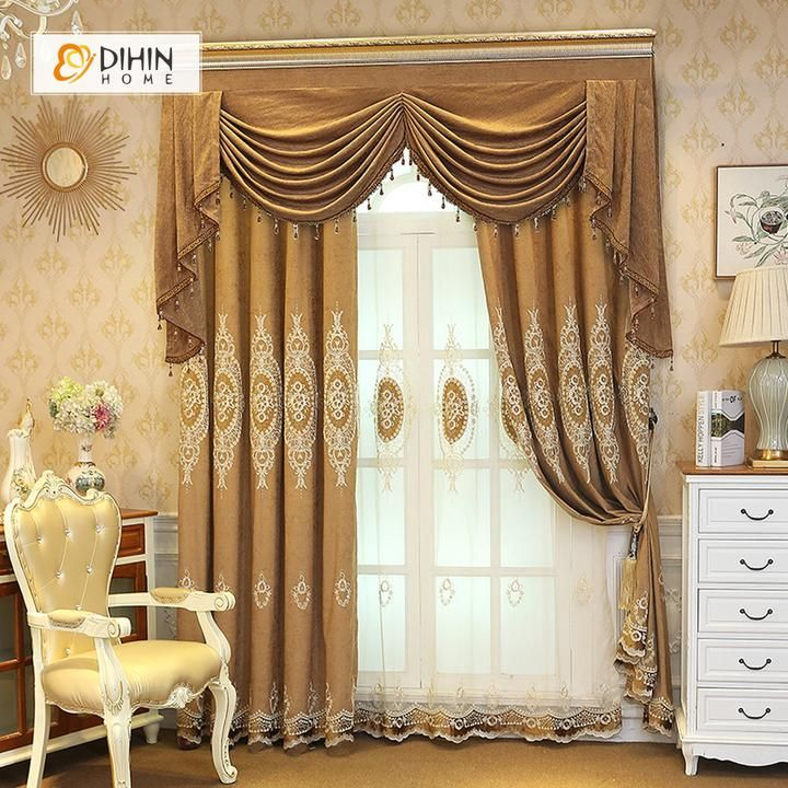 Dihin Home Elegant White Embroidered Brown Valance Blackout Curtains Grommet Window Curtain For Living Room 52x84 Inch 1 Panel Curtains Living Room Living Room Drapes Curtains