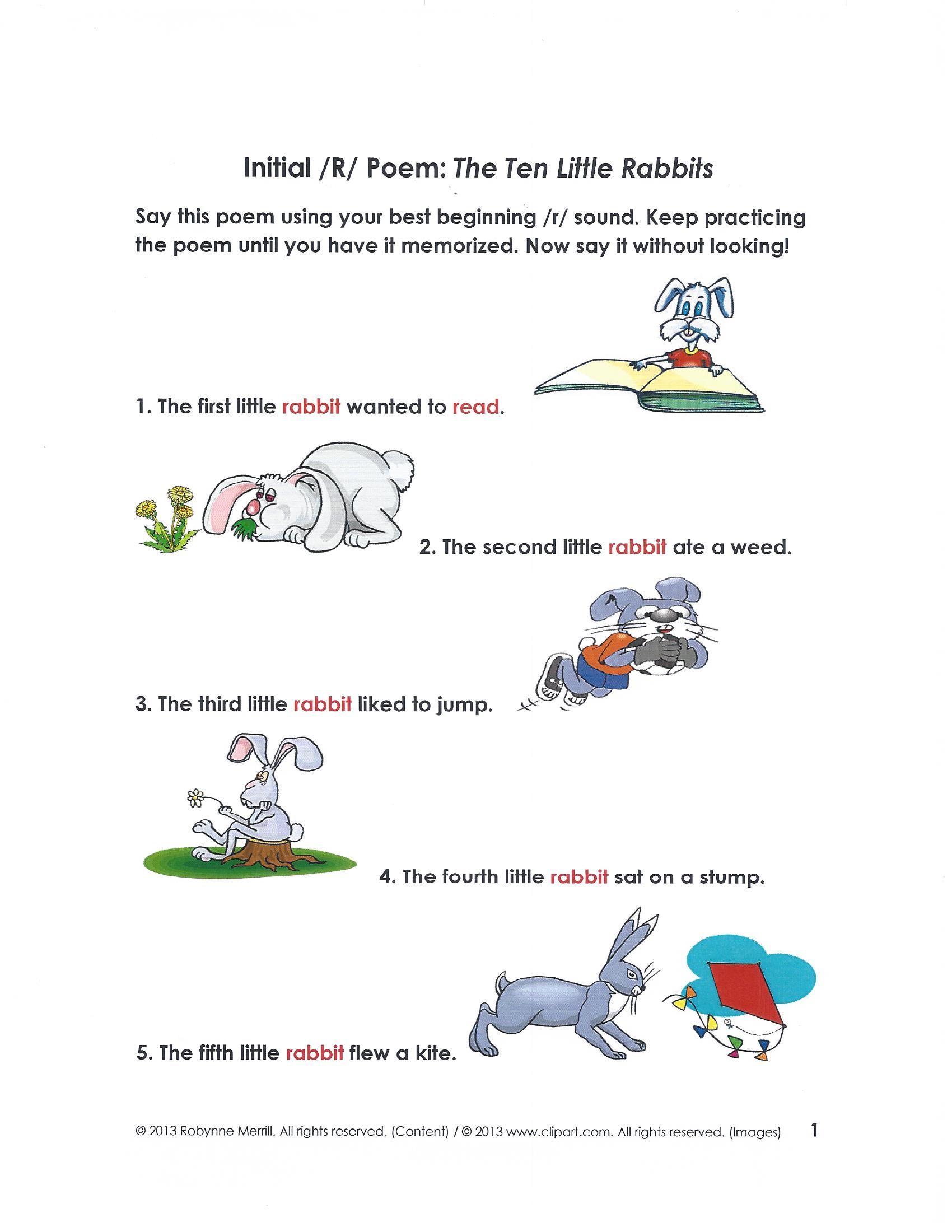 Ten Little Rabbit Tongue Twister Pg 1 Visit Us