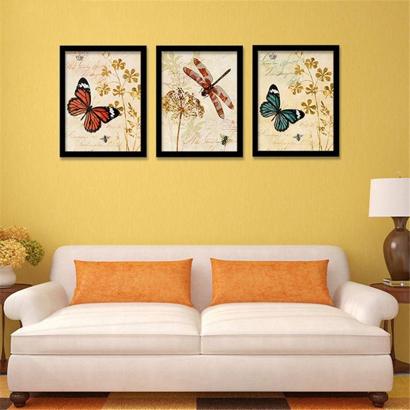 butterfly dragonfly flowers canvas painting for living room ink ...