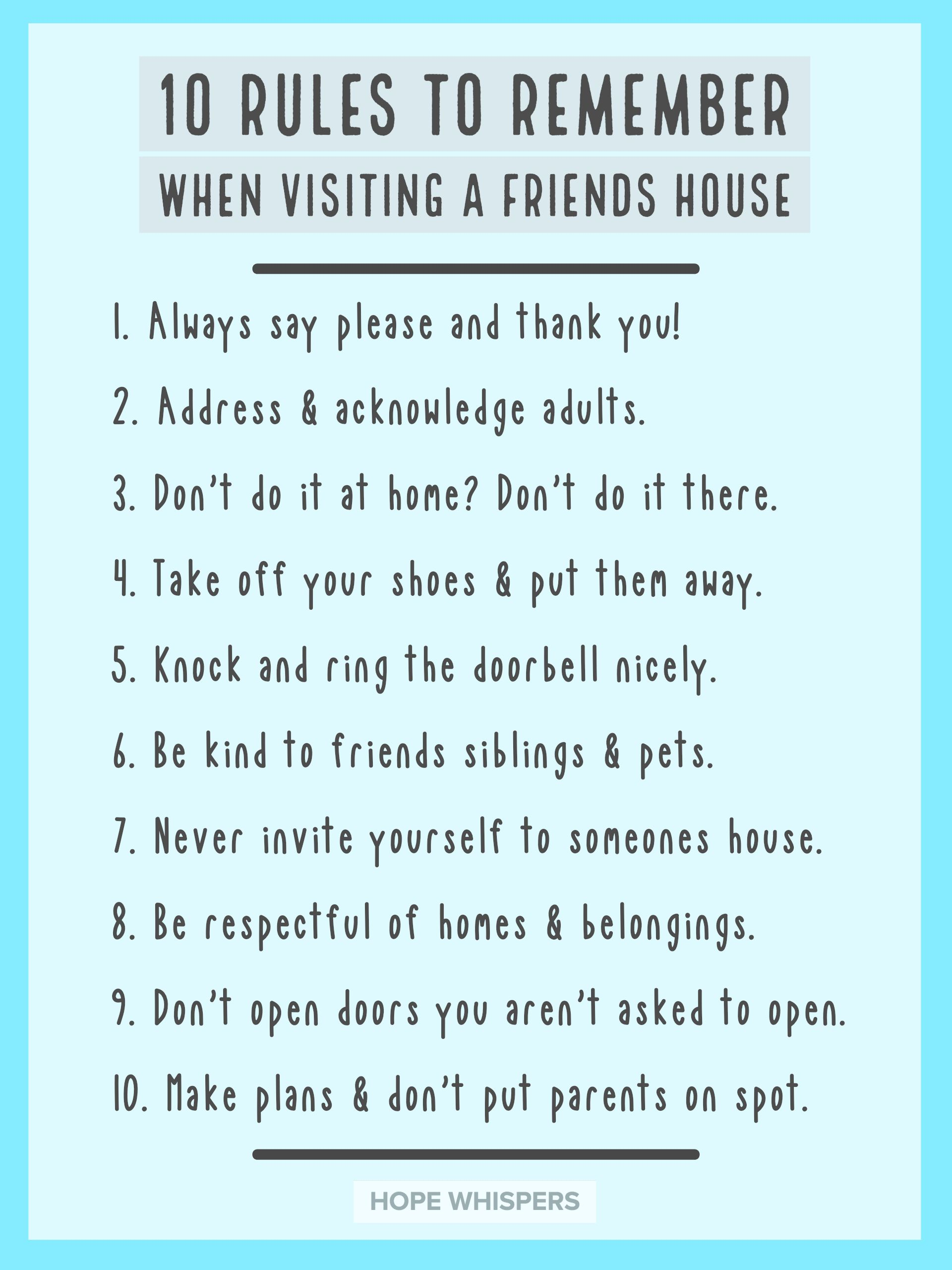 Mom Talk Rules For Visiting Friends