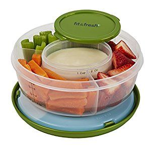 Amazon.com: Fit & Fresh Fruit and Veggie Bowl with Removable Ice Pack, Reusable BPA-Free Container with 4 Food Storage Compartments, Healthy On-the-Go Snack: Food Savers: Kitchen & Dining