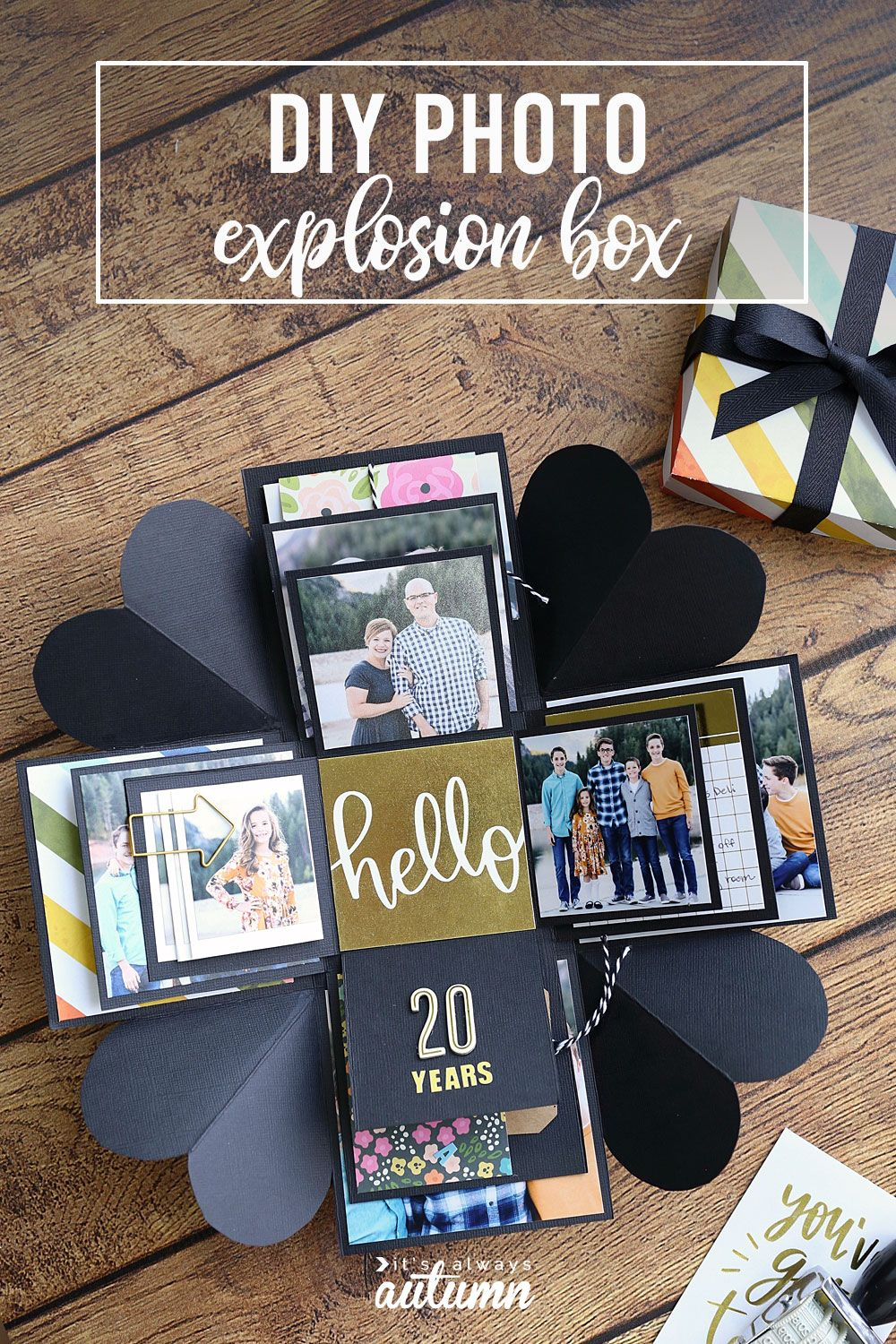 Learn how to make this cool DIY explosion box.  Perfect gift for Mother's Day, Father's Day, or an anniversary. #explosionbox #boyfriendgift