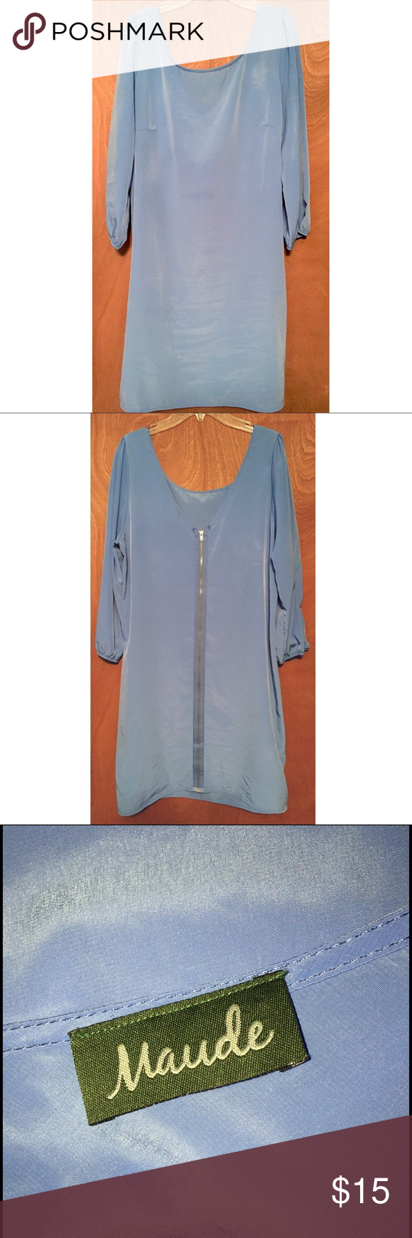 Long Sleeved Loose-Fitting Dress Loose-fitted, long sleeve, baby blue dress. Has zipper that runs all the way down the back. Bought from a little boutique. Excellent condition, no wear, tears, holes, or stains. Smoke free and pet free home. :) Maude Dresses Long Sleeve