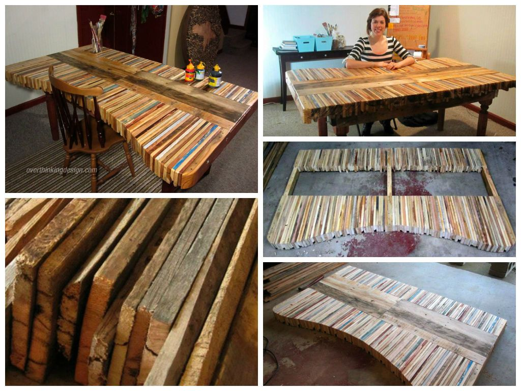 Pennsylvania artist has made a table with recycled pallets in a radically different way than we usually see. As a collage artist, the table is made with th