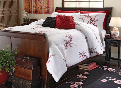 Asian Cherry Blossom Bedroom Comforter White Full/Queen