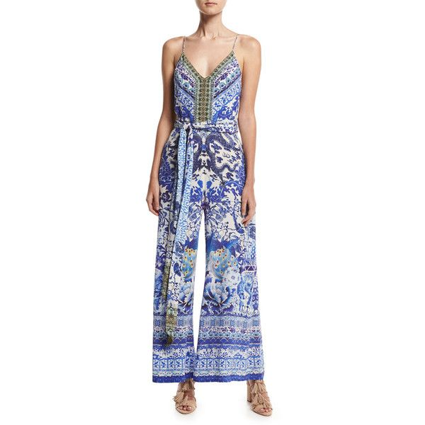 ba6a4150a425 Camilla Belted Wide-Leg Jumpsuit ( 650) ❤ liked on Polyvore featuring  jumpsuits