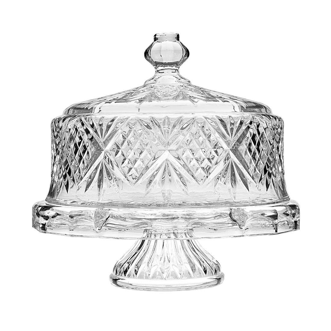 Godinger dublin crystal cake plate with dome dublin